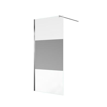 Van Marcke Origine - Walk-in Decor - vaste wand - décor glas - verchroomd profiel