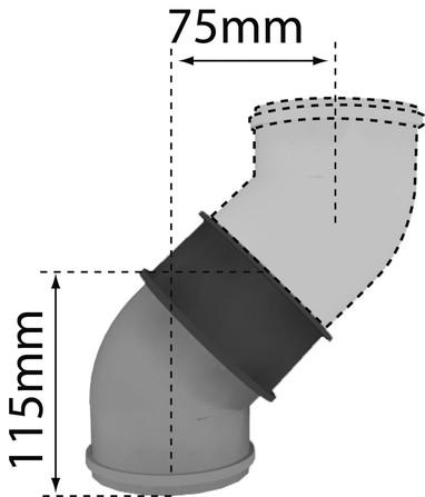 Bulex - rookafvoer - conc. bocht 80/125 45°