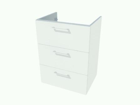 Van Marcke Origine - Nubes 50 - sous-meuble 60 cm - 3 tiroirs - 1 découpe siphon central