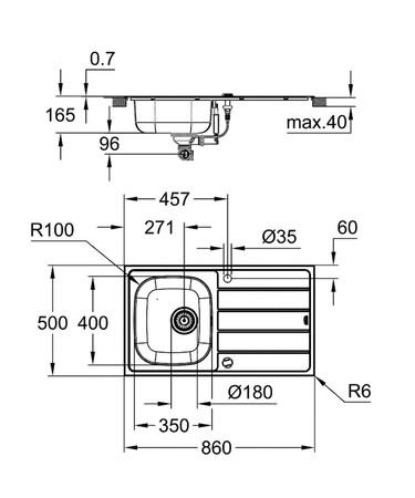 GRH ÉVIER K200 860X500 1B +EUR
