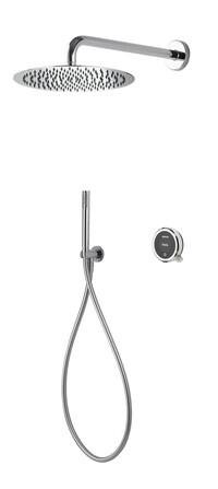 Aqualisa - Quartz Touch - modèle encastré - avec Slim douche à main et douche de pluie murale