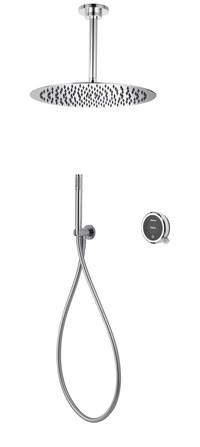 Aqualisa - Quartz Touch - modèle encastré - avec douche à main et douche de pluie plafond