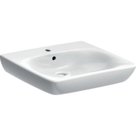 Geberit Renova Comfort lavabo 550 mm x 550 mm - avec trou de robinet central - avec trop-plein - avec KeraTect - blanc