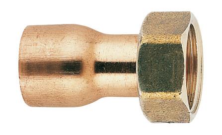 Kraagstuk recht - met moer - rood koper - D buis 14 mm x 3/4