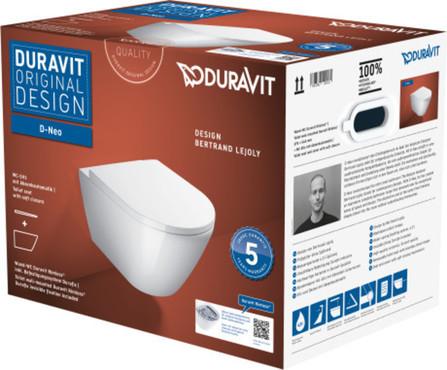 Duravit - D-NEO - PACK - WC suspendu - à fond creux