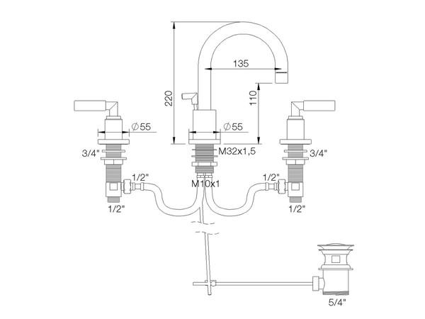 RVB 40911145 CLIFF WT 3-LOCH